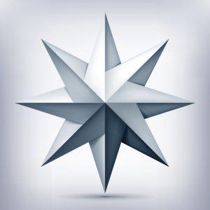 El significado en la estrella de ocho puntas