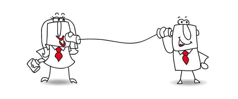 Asertividad una pareja intenta trasmitirse un mensaje utilizando un teléfono de vasos