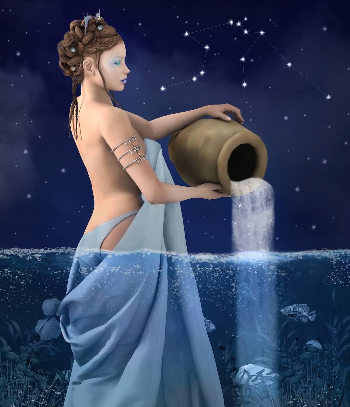 Mujer acuario derrama agua desde su cabeza